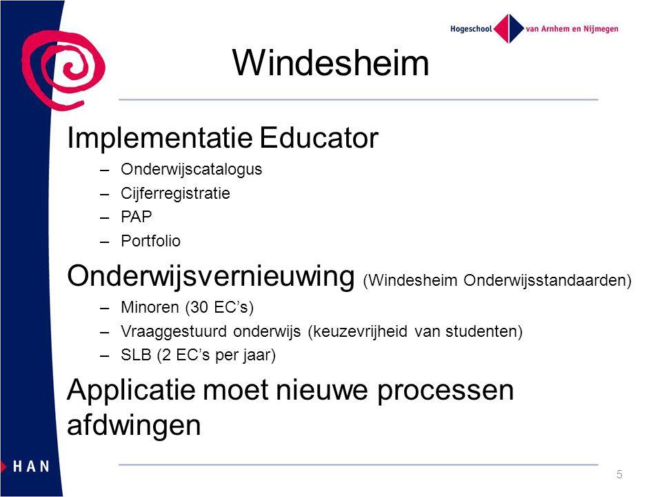 Windesheim Implementatie Educator –Onderwijscatalogus –Cijferregistratie –PAP –Portfolio Onderwijsvernieuwing (Windesheim Onderwijsstandaarden) –Minoren (30 EC's) –Vraaggestuurd onderwijs (keuzevrijheid van studenten) –SLB (2 EC's per jaar) Applicatie moet nieuwe processen afdwingen 5