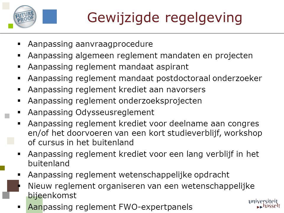  Aanpassing aanvraagprocedure  Aanpassing algemeen reglement mandaten en projecten  Aanpassing reglement mandaat aspirant  Aanpassing reglement ma