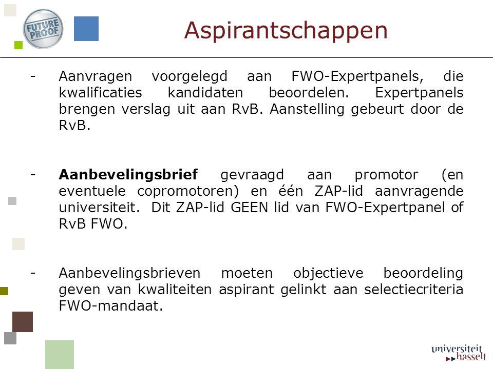 -Aanvragen voorgelegd aan FWO-Expertpanels, die kwalificaties kandidaten beoordelen. Expertpanels brengen verslag uit aan RvB. Aanstelling gebeurt doo