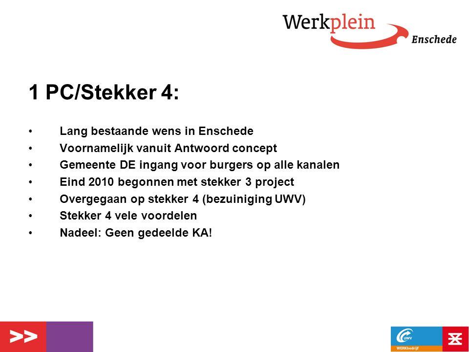 1 PC/Stekker 4: Lang bestaande wens in Enschede Voornamelijk vanuit Antwoord concept Gemeente DE ingang voor burgers op alle kanalen Eind 2010 begonne