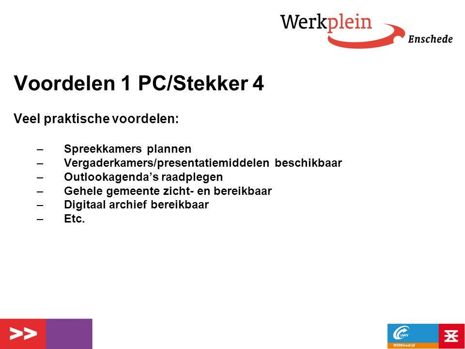Voordelen 1 PC/Stekker 4 Veel praktische voordelen: –Spreekkamers plannen –Vergaderkamers/presentatiemiddelen beschikbaar –Outlookagenda's raadplegen