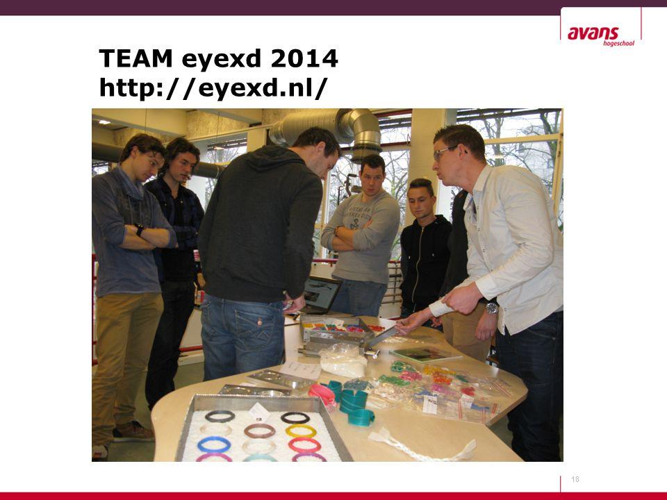 TEAM eyexd 2014 http://eyexd.nl/ 18