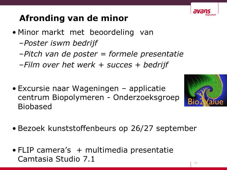 Afronding van de minor Minor markt met beoordeling van –Poster iswm bedrijf –Pitch van de poster = formele presentatie –Film over het werk + succes +