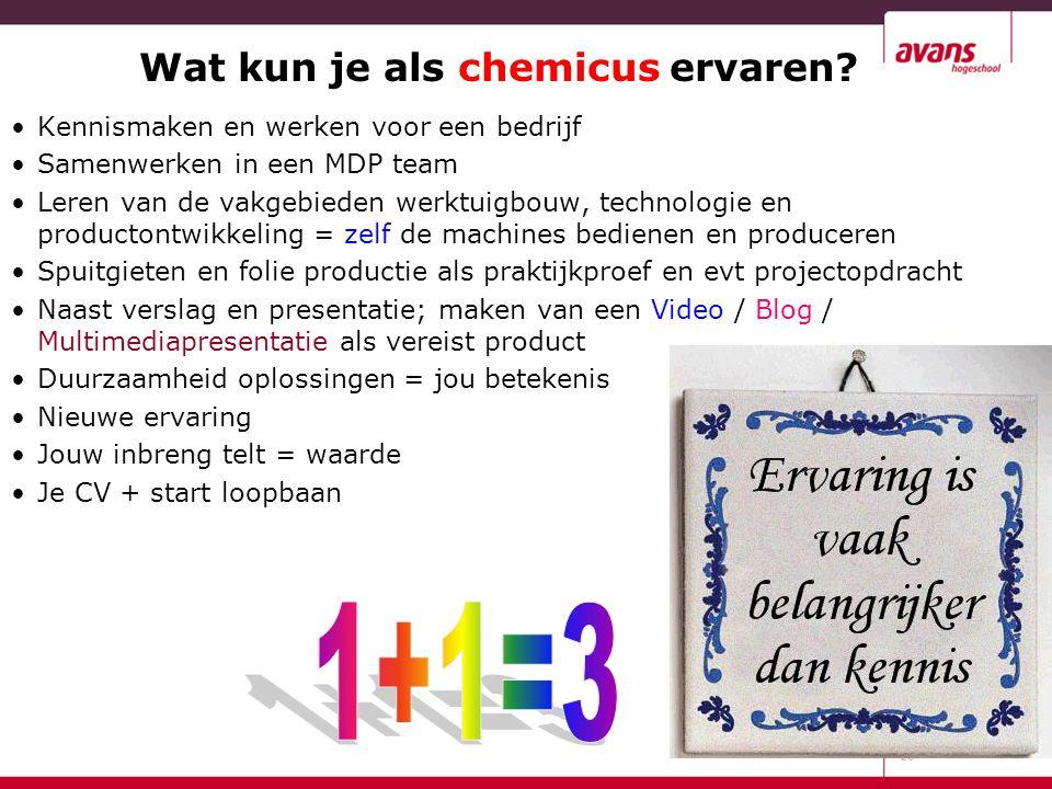 Wat kun je als chemicus ervaren? Kennismaken en werken voor een bedrijf Samenwerken in een MDP team Leren van de vakgebieden werktuigbouw, technologie
