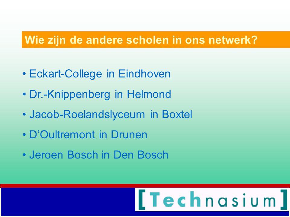Eckart-College in Eindhoven Dr.-Knippenberg in Helmond Jacob-Roelandslyceum in Boxtel D'Oultremont in Drunen Jeroen Bosch in Den Bosch Wie zijn de andere scholen in ons netwerk?