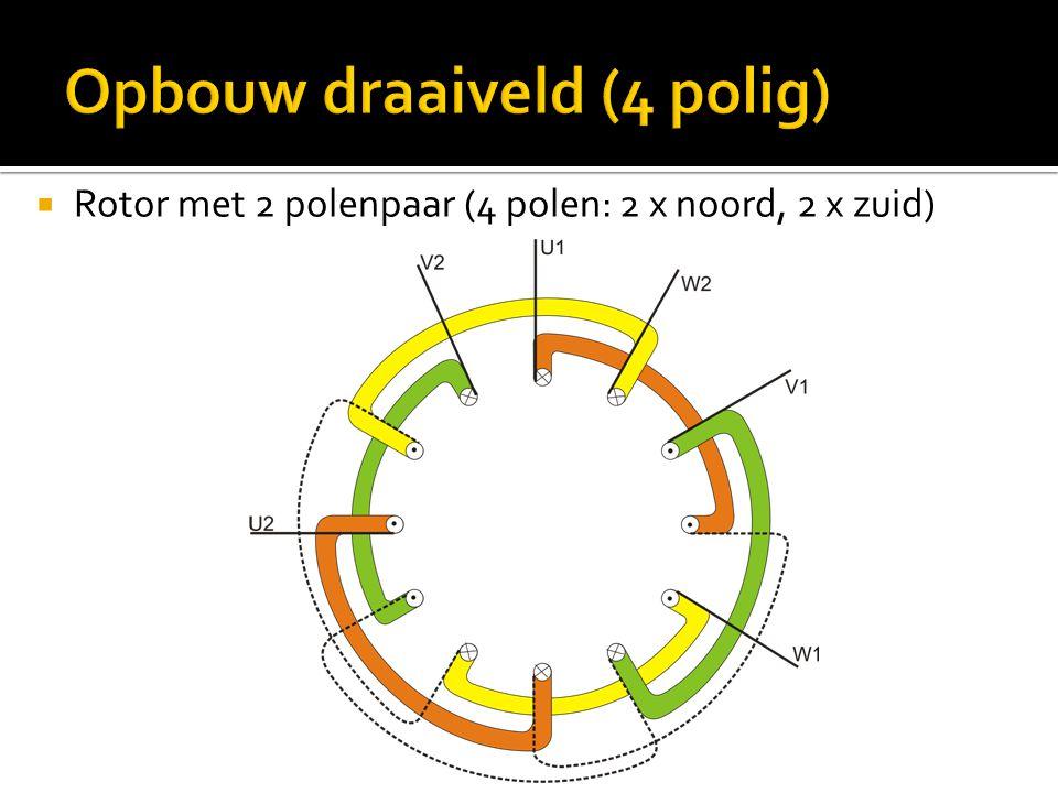  Rotor met 2 polenpaar (4 polen: 2 x noord, 2 x zuid)