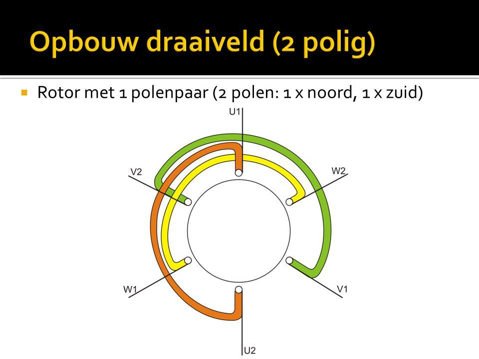  Rotor met 1 polenpaar (2 polen: 1 x noord, 1 x zuid)