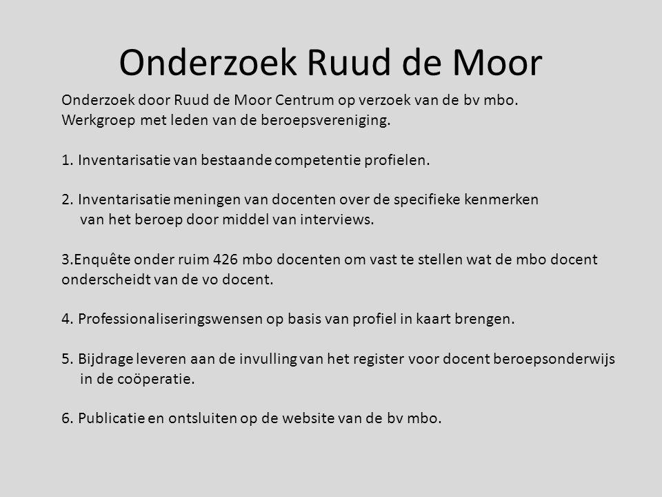 Ruud de Moor op zoek naar specifieke kenmerken mbo docent MBO docent beschikt over andere bekwaamheden en competenties dan een docent in het voortgezet onderwijs.
