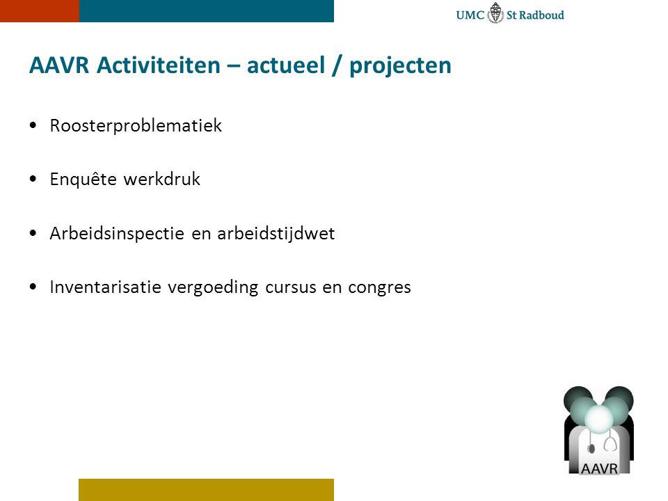 AAVR Activiteiten – actueel / projecten Roosterproblematiek Enquête werkdruk Arbeidsinspectie en arbeidstijdwet Inventarisatie vergoeding cursus en co