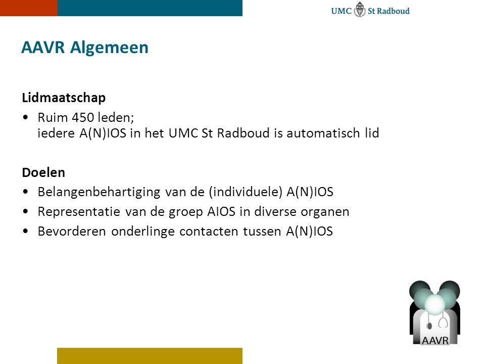 AAVR Algemeen Lidmaatschap Ruim 450 leden; iedere A(N)IOS in het UMC St Radboud is automatisch lid Doelen Belangenbehartiging van de (individuele) A(N