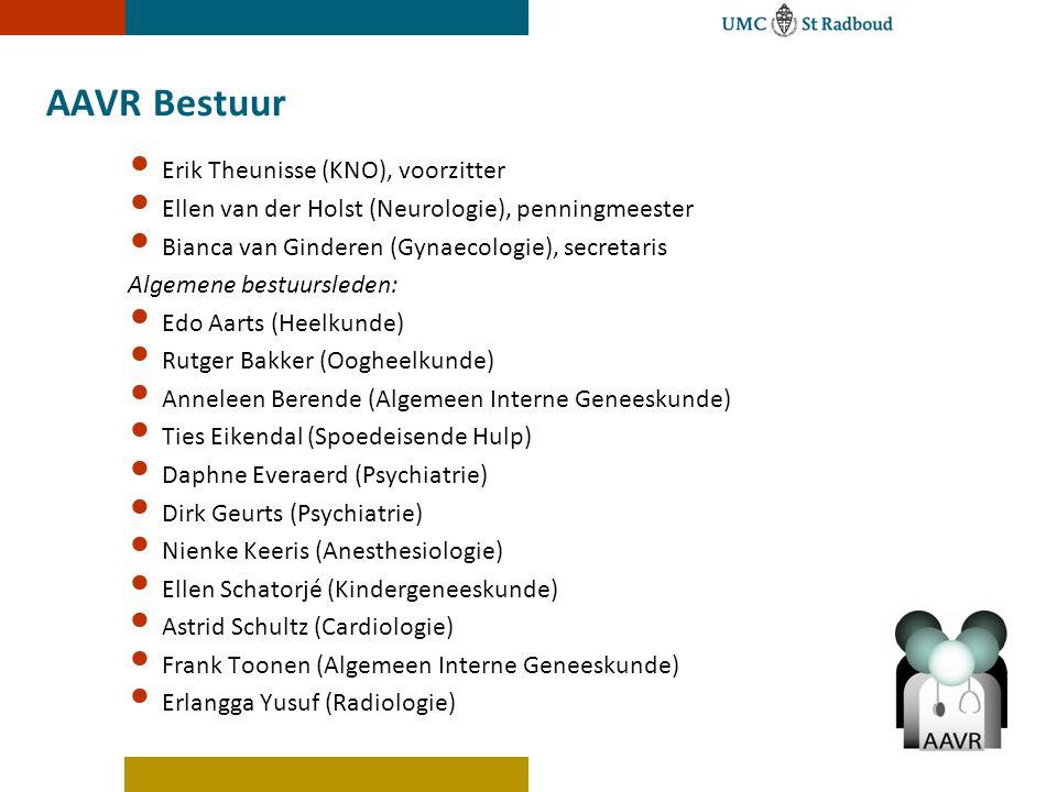 AAVR Bestuur Erik Theunisse (KNO), voorzitter Ellen van der Holst (Neurologie), penningmeester Bianca van Ginderen (Gynaecologie), secretaris Algemene
