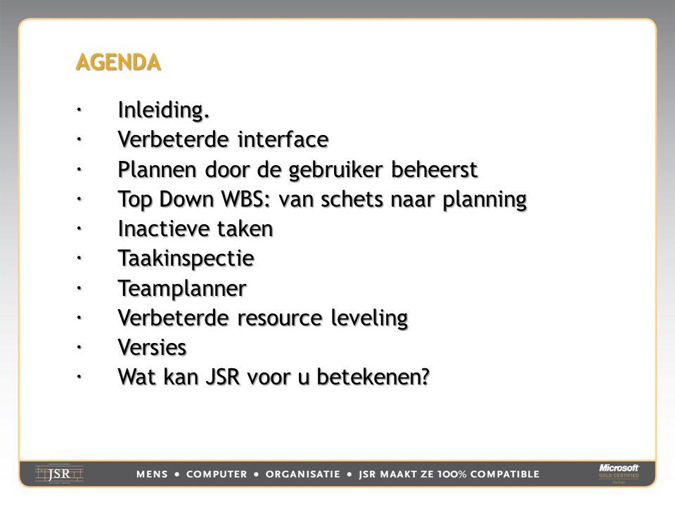 AGENDA  Inleiding.  Verbeterde interface  Plannen door de gebruiker beheerst  Top Down WBS: van schets naar planning  Inactieve taken  Taakinspe