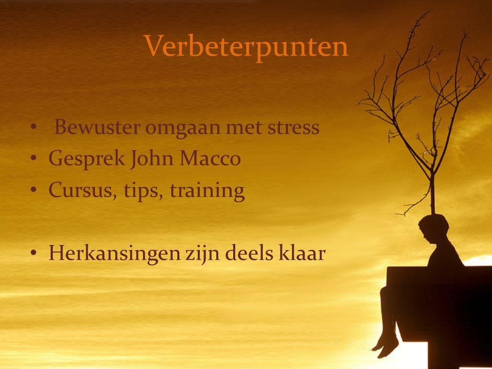 Verbeterpunten Bewuster omgaan met stress Gesprek John Macco Cursus, tips, training Herkansingen zijn deels klaar