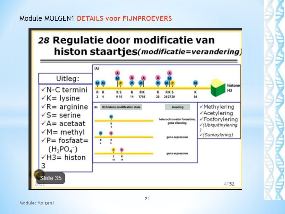 21 Module: Molgen1 Module MOLGEN1 DETAILS voor FIJNPROEVERS