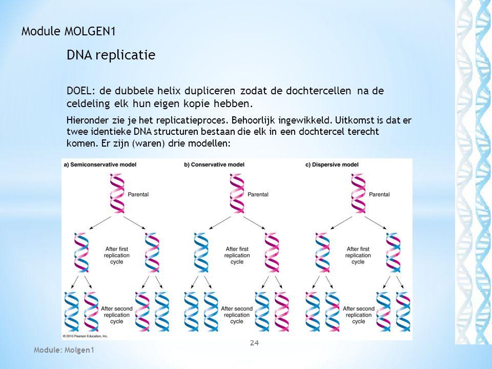 DNA replicatie DOEL: de dubbele helix dupliceren zodat de dochtercellen na de celdeling elk hun eigen kopie hebben. Hieronder zie je het replicatiepro