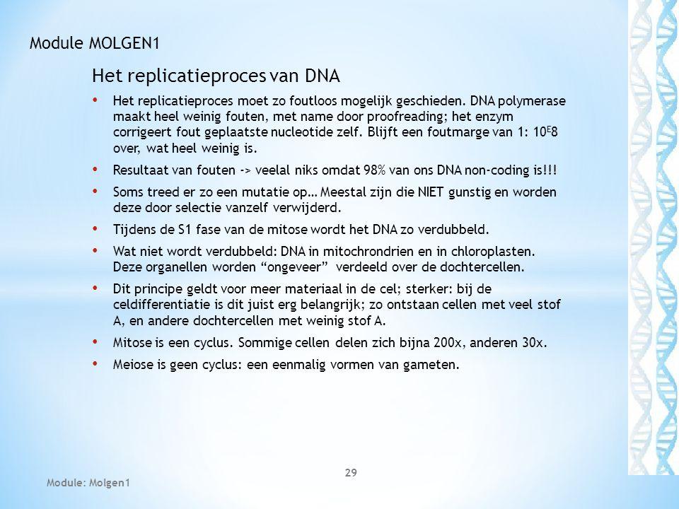 Het replicatieproces van DNA Het replicatieproces moet zo foutloos mogelijk geschieden. DNA polymerase maakt heel weinig fouten, met name door proofre