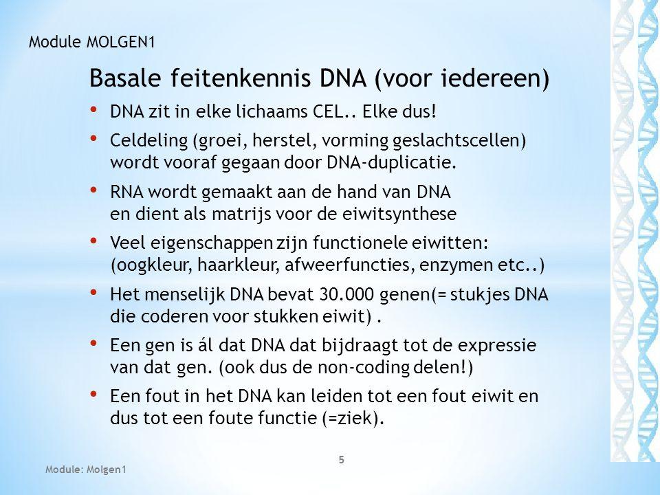 Basale feitenkennis DNA (voor iedereen) DNA zit in elke lichaams CEL.. Elke dus! Celdeling (groei, herstel, vorming geslachtscellen) wordt vooraf gega