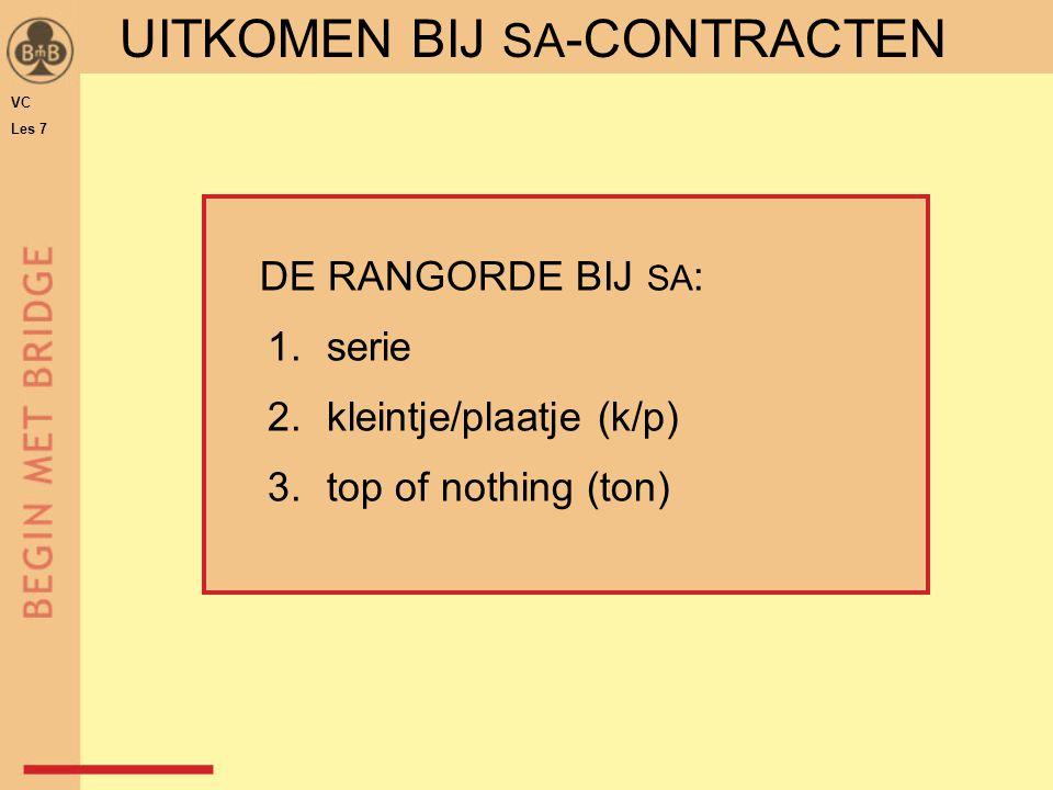 UITKOMEN BIJ SA -CONTRACTEN VC Les 7 DE RANGORDE BIJ SA : 1.serie 2.kleintje/plaatje (k/p) 3.top of nothing (ton)