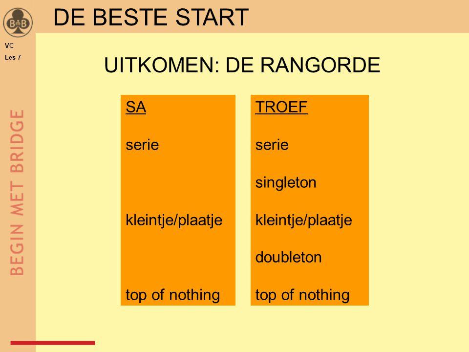 DE BESTE START SA serie kleintje/plaatje top of nothing TROEF serie singleton kleintje/plaatje doubleton top of nothing UITKOMEN: DE RANGORDE VC Les 7