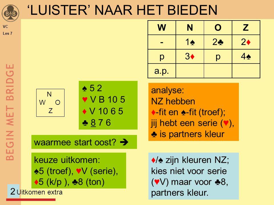 N W O Z WNOZ -1♠ 'LUISTER' NAAR HET BIEDEN ♠ 5 2 ♥ V B 10 5 ♦ V 10 6 5 ♣ 8 7 6 2 waarmee start oost.