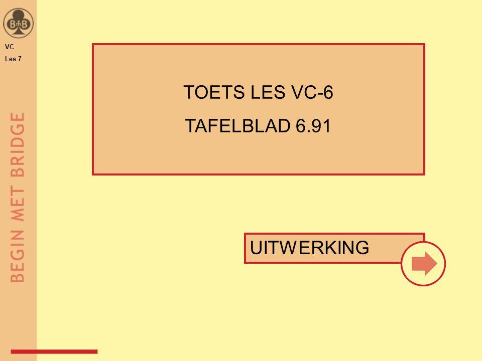 VC Les 7 13 4441 1♣ ♠ 6 ♥ A H 7 6 ♦ H 8 7 5 ♣ H 6 3 2 ♠ A H 4 3 2 ♥ A 8 ♦ A B 7 4 ♣ 7 3 ♠ 5 ♥ V B 9 8 5 ♦ A H ♣ V B 9 8 5 Punten Verdeling Opening Punten Verdeling Opening 16 5422 1♠ Punten Verdeling Opening 13 5521 1♥1♥ 1a1b 1c TOETS LES 6 – VRAAG 1 TAFELBLAD 6.91