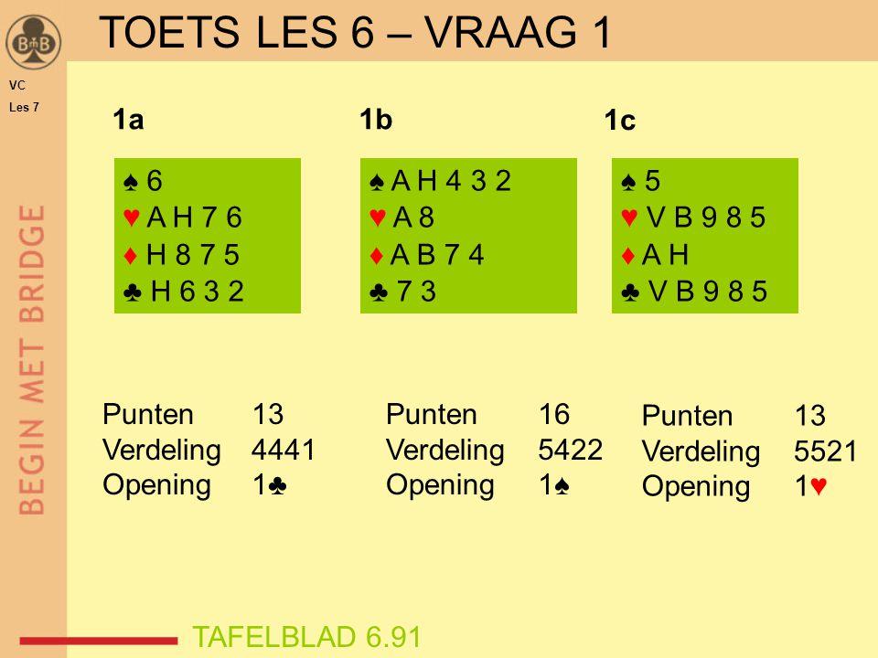 1♠1♠ 4♠4♠ 3♠3♠ 1♣1♦1♦ WO biedverloop ♠ A V B 4 ♥ H 7 2 ♦ A ♣ B 10 6 4 2 N W O Z ♠ H 9 3 2 ♥ V 9 3 ♦ H V B 2 ♣ 8 7 Gever: west Laagst biedbare vierkaart is ♦ Een tweede kleur ♠-steun en 10-11 punten W heeft overwaarde pas VC Les 7 TOETS LES 6 – VRAAG 2 TAFELBLAD 6.91