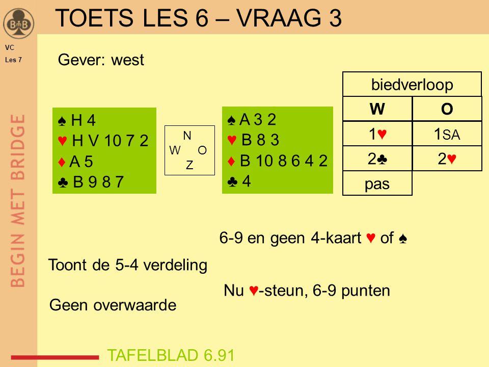 2♣2♣ pas 2♥2♥ 1♥1♥1 SA WO biedverloop ♠ H 4 ♥ H V 10 7 2 ♦ A 5 ♣ B 9 8 7 N W O Z ♠ A 3 2 ♥ B 8 3 ♦ B 10 8 6 4 2 ♣ 4 Gever: west 6-9 en geen 4-kaart ♥ of ♠ Toont de 5-4 verdeling Nu ♥-steun, 6-9 punten Geen overwaarde VC Les 7 TOETS LES 6 – VRAAG 3 TAFELBLAD 6.91