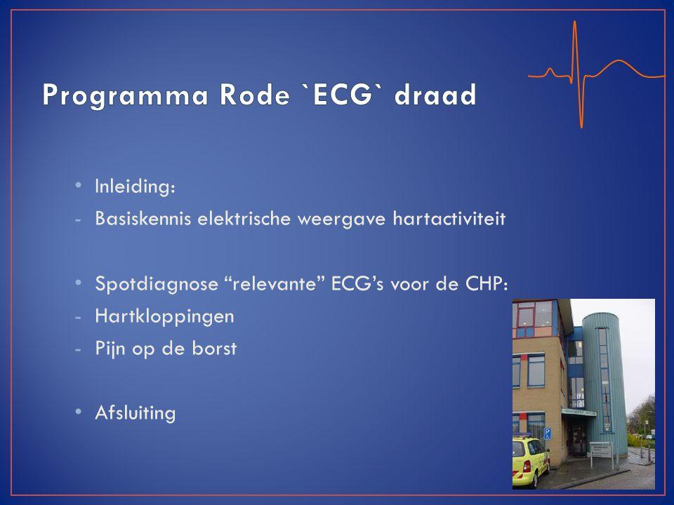 """Inleiding: -Basiskennis elektrische weergave hartactiviteit Spotdiagnose """"relevante"""" ECG's voor de CHP: -Hartkloppingen -Pijn op de borst Afsluiting"""