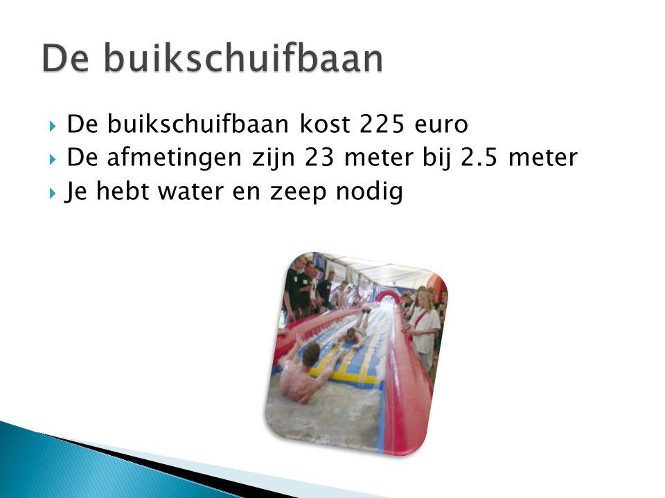  De buikschuifbaan kost 225 euro  De afmetingen zijn 23 meter bij 2.5 meter  Je hebt water en zeep nodig