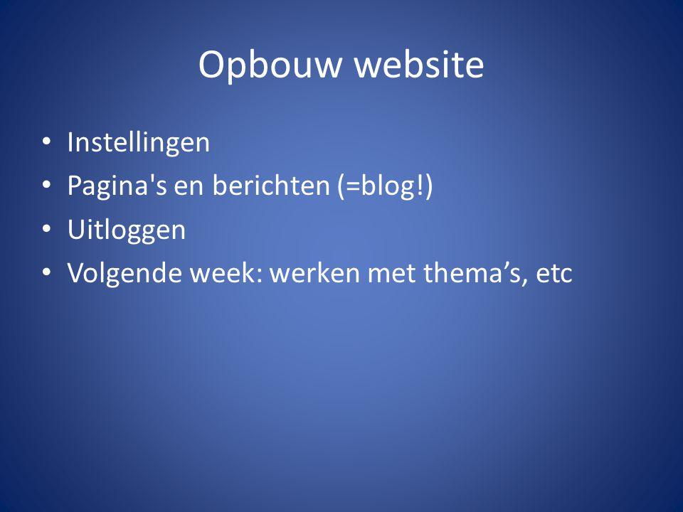 Opbouw website Instellingen Pagina's en berichten (=blog!) Uitloggen Volgende week: werken met thema's, etc