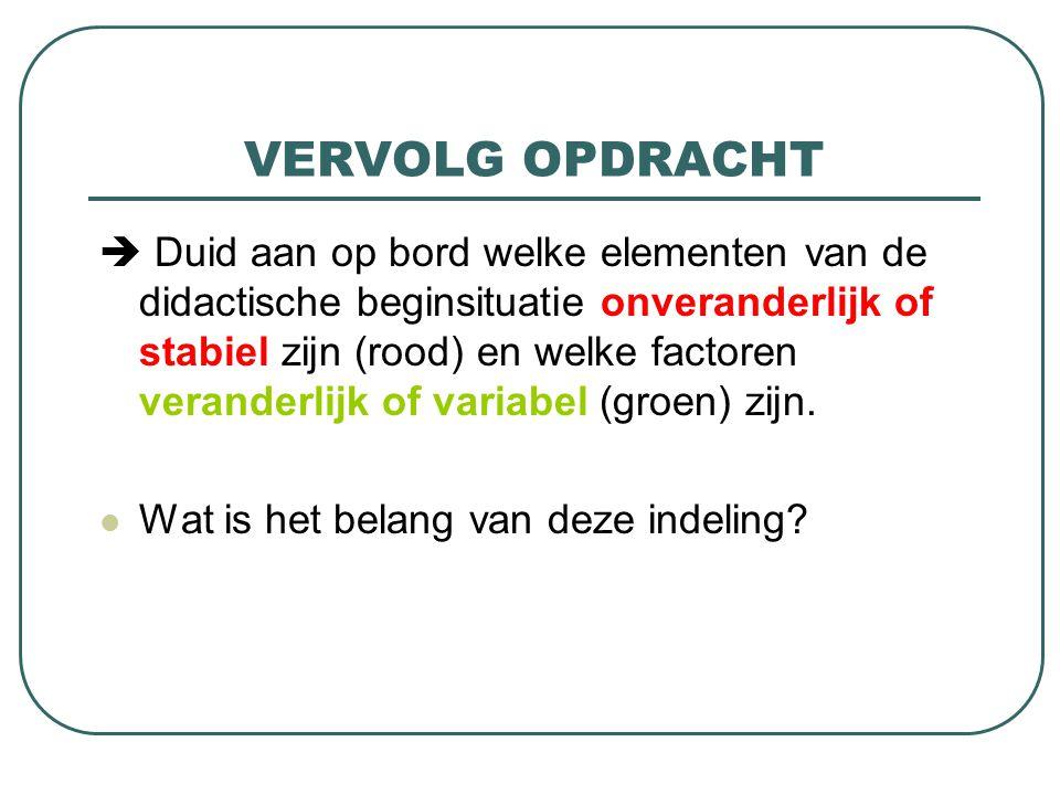 VERVOLG OPDRACHT  Duid aan op bord welke elementen van de didactische beginsituatie onveranderlijk of stabiel zijn (rood) en welke factoren veranderlijk of variabel (groen) zijn.