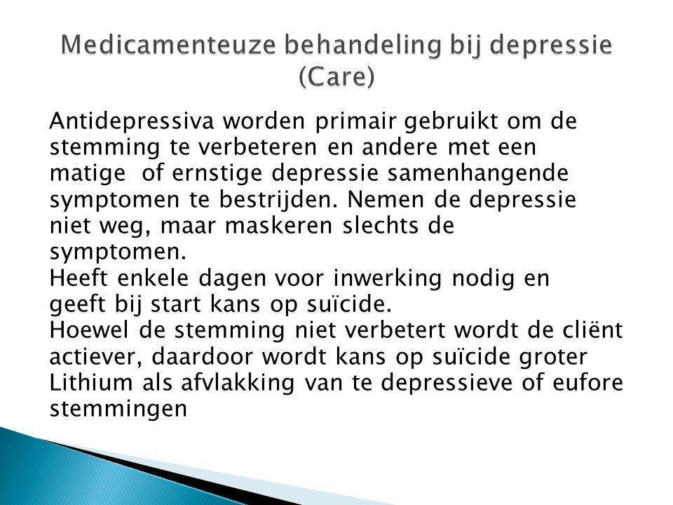 Antidepressiva worden primair gebruikt om de stemming te verbeteren en andere met een matige of ernstige depressie samenhangende symptomen te bestrijd