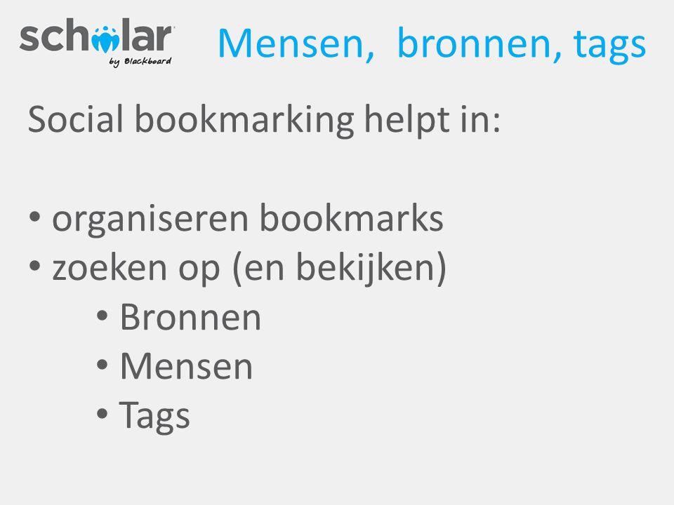 Mensen, bronnen, tags Social bookmarking helpt in: organiseren bookmarks zoeken op (en bekijken) Bronnen Mensen Tags
