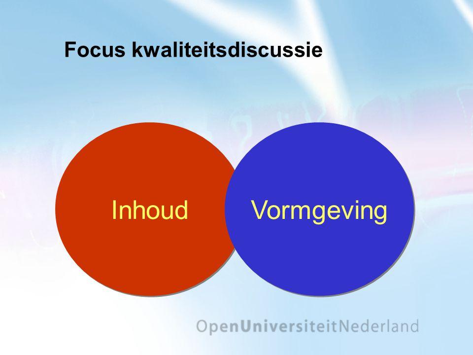 Focus kwaliteitsdiscussie Inhoud Vormgeving