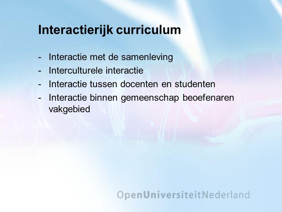 Interactierijk curriculum Interactie met de samenleving Interculturele interactie Interactie tussen docenten en studenten Interactie binnen gemeenschap beoefenaren vakgebied