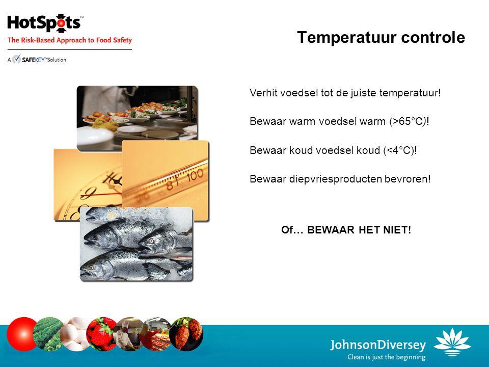 Bewaar warm voedsel warm (>65°C)! Bewaar koud voedsel koud (<4°C)! Bewaar diepvriesproducten bevroren! Of… BEWAAR HET NIET! Verhit voedsel tot de juis