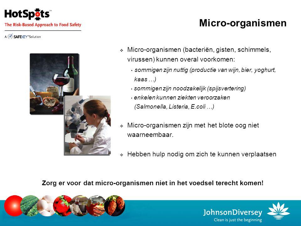 Micro-organismen  Micro-organismen (bacteriën, gisten, schimmels, virussen) kunnen overal voorkomen: sommigen zijn nuttig (productie van wijn, bier,