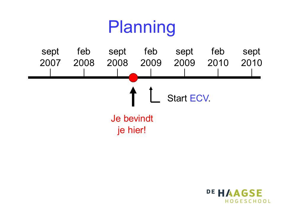 Planning sept 2007 feb 2008 sept 2008 feb 2009 sept 2009 feb 2010 sept 2010 Je bevindt je hier.