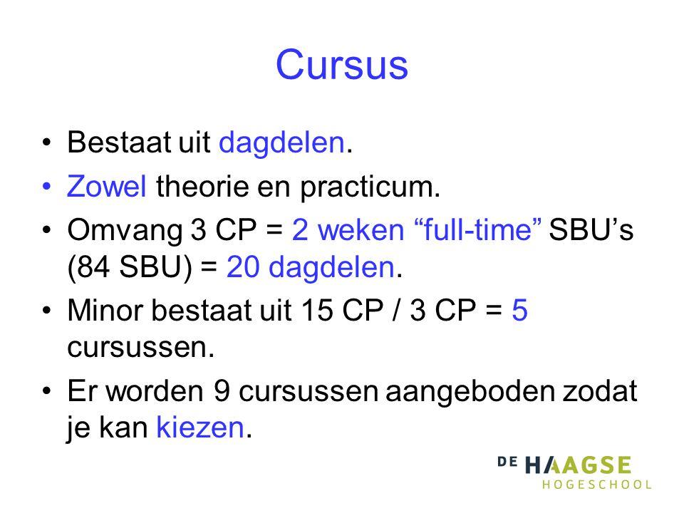 Cursus Bestaat uit dagdelen. Zowel theorie en practicum.