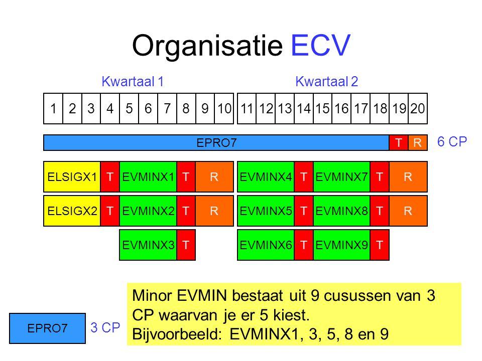 Organisatie ECV 1324576891110121315141617191820 EVMINX7T EVMINX8 T EVMINX9 TEVMINX4T EVMINX5 TEVMINX6TELSIGX1 ELSIGX2 T T R R R R EPRO7T R Kwartaal 1Kwartaal 2 6 CP 3 CP EVMINX1T EVMINX2 T EVMINX3 T Minor EVMIN bestaat uit 9 cusussen van 3 CP waarvan je er 5 kiest.