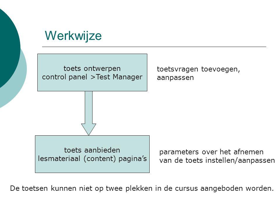 Werkwijze toets ontwerpen control panel >Test Manager toets aanbieden lesmateriaal (content) pagina's toetsvragen toevoegen, aanpassen parameters over