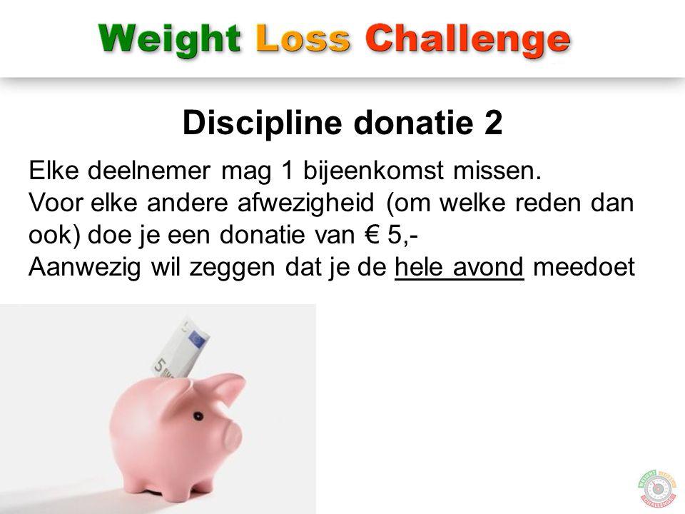 19 Discipline donatie 2 Elke deelnemer mag 1 bijeenkomst missen. Voor elke andere afwezigheid (om welke reden dan ook) doe je een donatie van € 5,- Aa