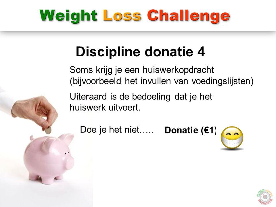 21 Discipline donatie 4 Donatie (€1) Soms krijg je een huiswerkopdracht (bijvoorbeeld het invullen van voedingslijsten) Uiteraard is de bedoeling dat