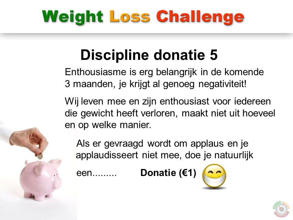 22 Donatie (€1) Discipline donatie 5 Enthousiasme is erg belangrijk in de komende 3 maanden, je krijgt al genoeg negativiteit! Wij leven mee en zijn e
