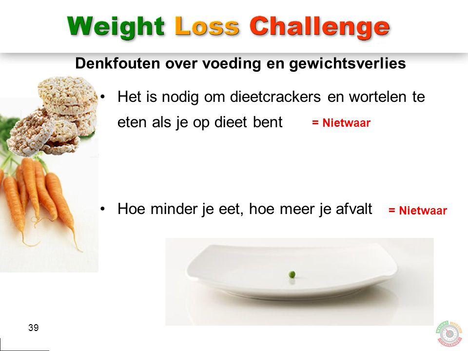39 Denkfouten over voeding en gewichtsverlies Het is nodig om dieetcrackers en wortelen te eten als je op dieet bent Hoe minder je eet, hoe meer je af