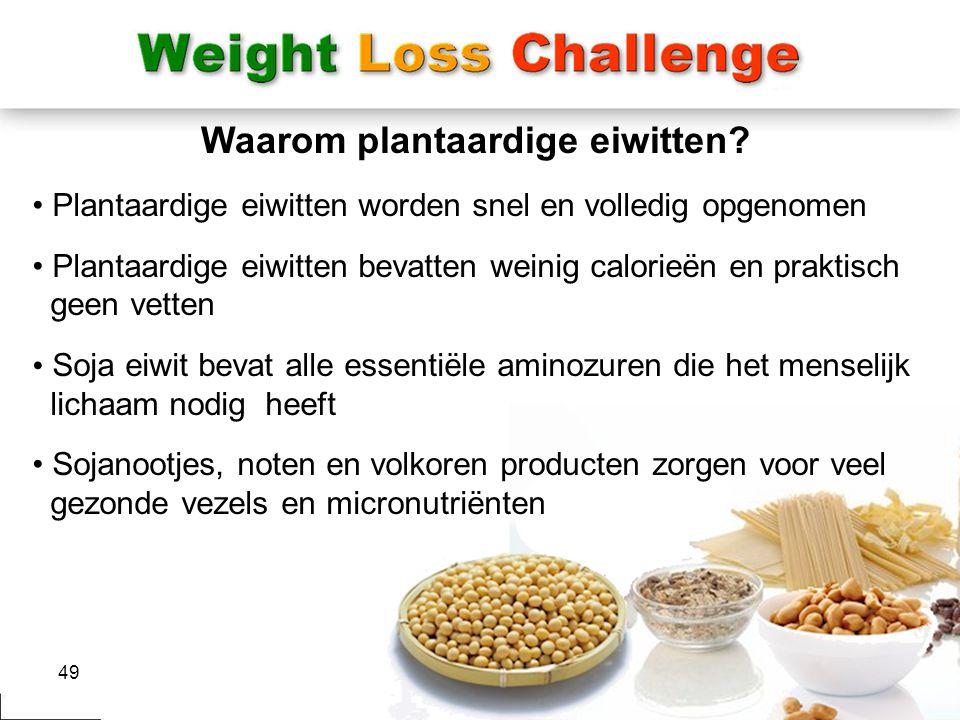 49 Waarom plantaardige eiwitten? Plantaardige eiwitten worden snel en volledig opgenomen Plantaardige eiwitten bevatten weinig calorieën en praktisch