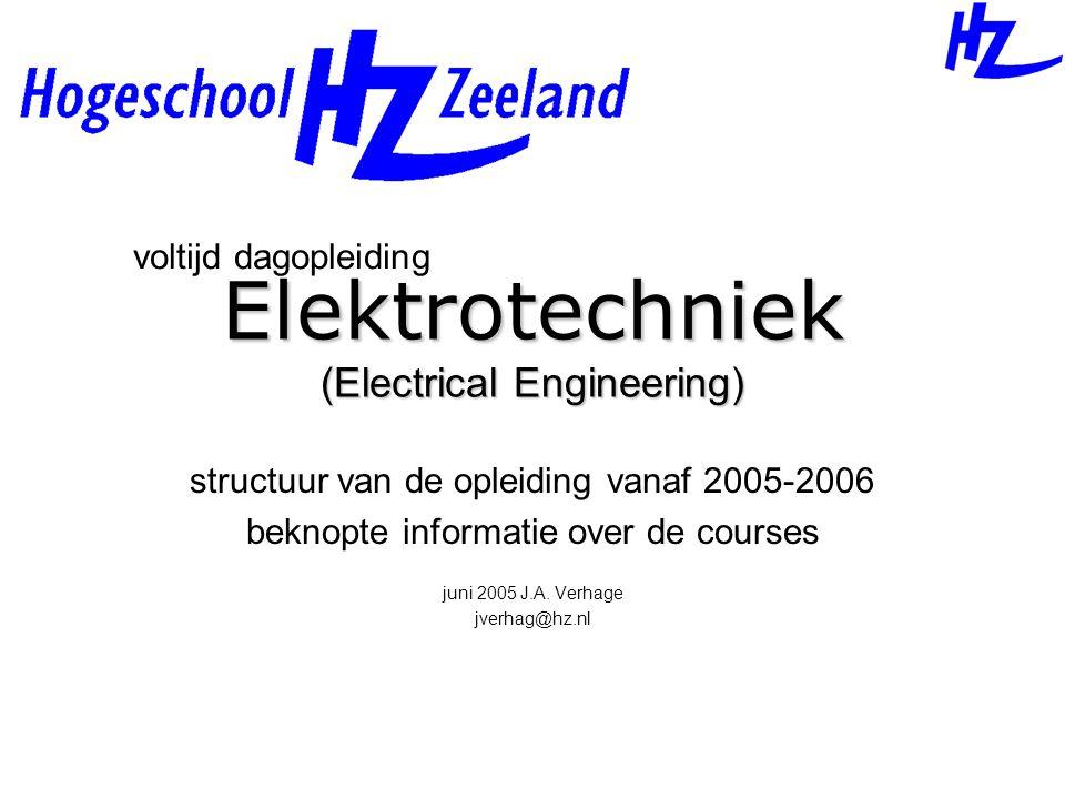 Elektrotechniek (Electrical Engineering) structuur van de opleiding vanaf 2005-2006 beknopte informatie over de courses juni 2005 J.A. Verhage jverhag