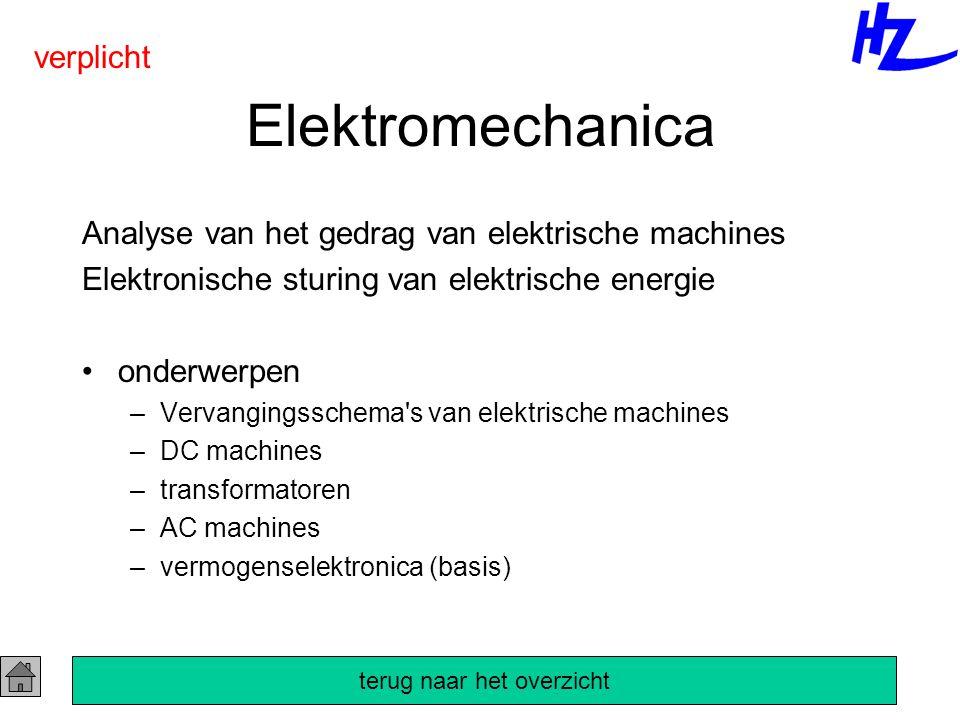 Elektromechanica Analyse van het gedrag van elektrische machines Elektronische sturing van elektrische energie onderwerpen –Vervangingsschema s van elektrische machines –DC machines –transformatoren –AC machines –vermogenselektronica (basis) verplicht terug naar het overzicht