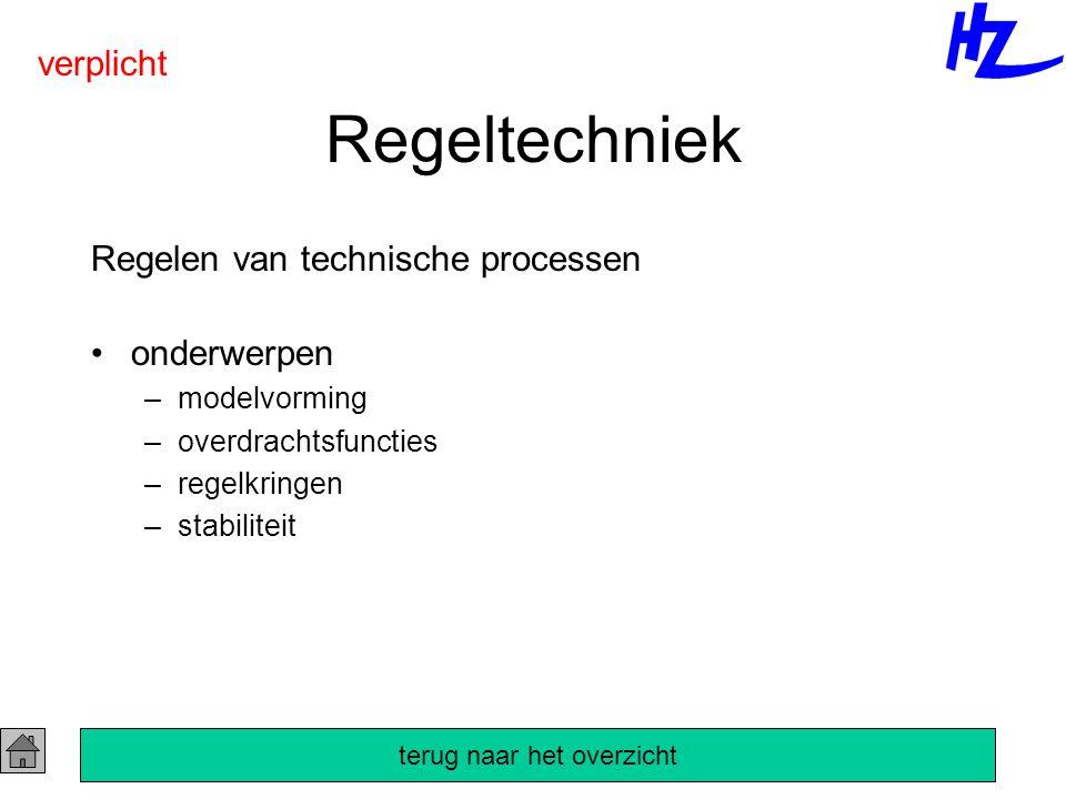 Regeltechniek Regelen van technische processen onderwerpen –modelvorming –overdrachtsfuncties –regelkringen –stabiliteit verplicht terug naar het over