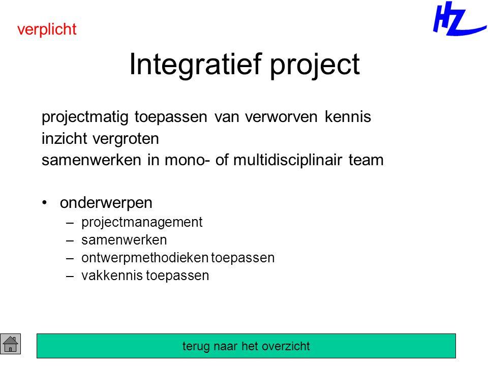 Integratief project projectmatig toepassen van verworven kennis inzicht vergroten samenwerken in mono- of multidisciplinair team onderwerpen –projectmanagement –samenwerken –ontwerpmethodieken toepassen –vakkennis toepassen verplicht terug naar het overzicht